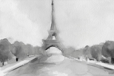 Stock illustration of the Eiffel Tower (watercolor illustration). A classic Parisian scene of the Eiffel Tower in the Champs de Mars park, Paris, France.