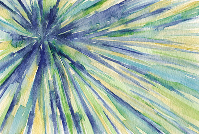 Abstract Watercolor Painting - Blue, Yellow, Green Starburst Pattern