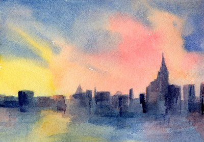 An impressionist watercolor painting of the New York skyline at sunset, including the Empire State Building and the East River - in shades of pink, yellow and blue.