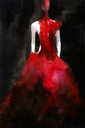 A watercolor fashion illustration inspired by the Alexander McQueen exhibit at the Met Museum in 2011.  A gown made of red and black ostrich feathers and glass medical slides painted red, from the VOSS collection, spring/summer 2001.