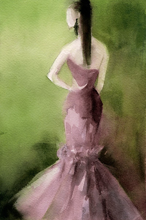A luminous watercolor fashion illustration of a woman in a ruffled mauve evening dress on a green background.