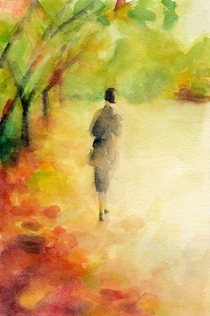 A loose, impressionist watercolor autumn scene of a woman walking through a park among fall leaves.