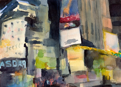 An impressionist watercolor cityscape painting of New York City:  the electronic billboards of Times Square illuminate the street at night.