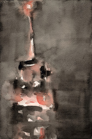 A loose, impressionistic watercolor painting of New York City at night:  the Empire State Building illuminated in shades of black and coral.