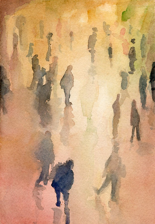 An impressionist style watercolor painting of New York City:  people walking through the Main Waiting Room at Grand Central Station, the main railway station in NYC.