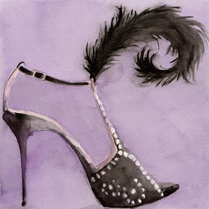 Watercolor shoe illustration of a black evening shoe against a purple background.