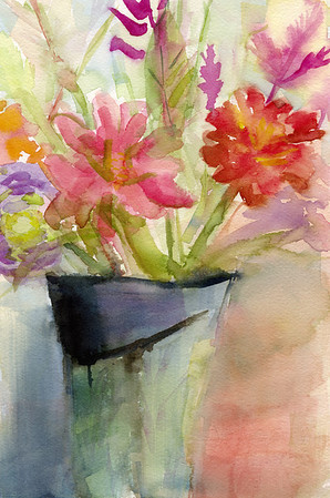 A colorful, impressionist style watercolor painting of a vase of zinnias.