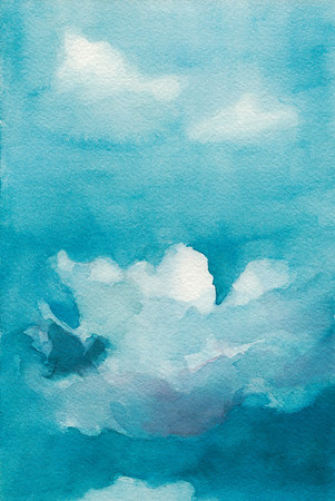 A watercolor painting of clouds floating in a blue sky.