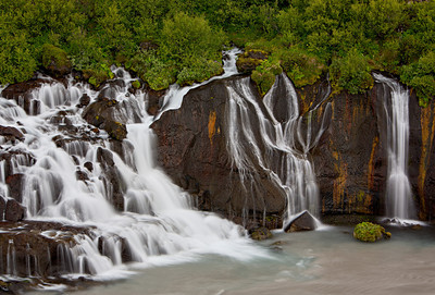 Hraunfossar, a series of waterfalls that stream right out of the bedrock of lava rock. Taken in Borgarfjörður, West Iceland, Iceland.