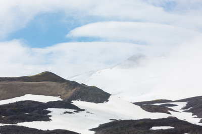 Clouds move across the upper portion of the Snaefell mountain. Taken on the Snæfellsnes Peninsula, West Iceland.