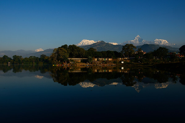 Annapurna range reflecting into Phewa lake