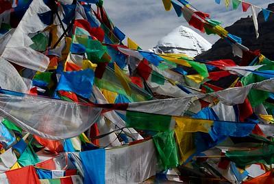 holy mount Kailash seen thru prayers flags at Tarboche