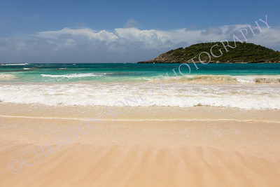 Atlantic Waves on Beautiful Golden Sandy Beach Antigua
