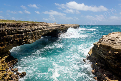Waves Crashing on Rocks at Devil's Bridge Antigua