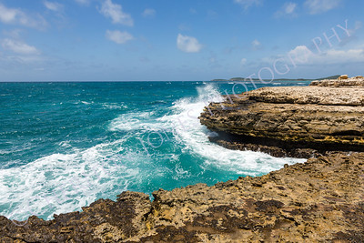 Devil's Bridge Antigua Waves Crashing on Coastline