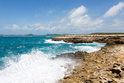 Waves Crashing on Coastline at Devil's Bridge Antigua