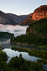 """""""Fog On the River Bend""""<br /> <br /> <br /> One day, in the Many Glacier area of Glacier National Park, we awoke to fog hanging in the valley of the Swiftcurrent River."""