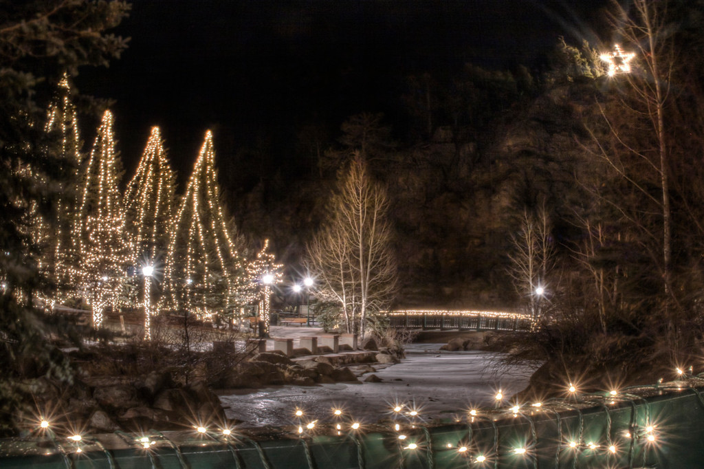 """Estes Out My Window""  ~Estes Park, CO.  View of the Village Christmas lights from my living room window...ahhh"