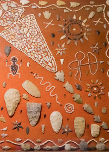 Projectile points in display. Taken at the Geronimo Springs Museum, Truth or Consequences, New Mexico, USA.