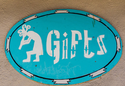 Sign at a gift shop, with Kokopelli. Taken in Mesilla, New Mexico, USA.