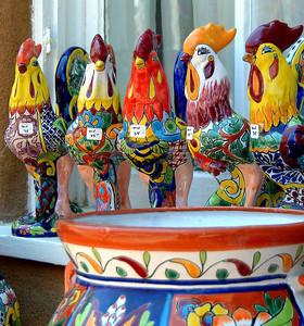 Santa Fe Courtyard Roosters