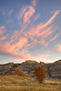 """Stripey Clouds and Stripey Hills""<br /> <br /> A vibrant sky, striped hills, and fall color combine at sunrise. Taken in Theodore Roosevelt National Park, North Unit, North Dakota, USA."