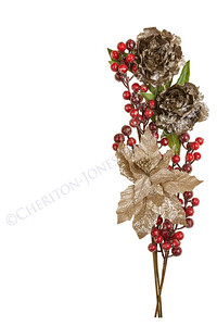 Sparkly Pewter Flowers Shiny Red Berries and Gold Leaves