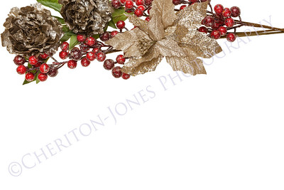 Sparkly Pewter Flowers Shiny Red Berries and Gold Leaves Border