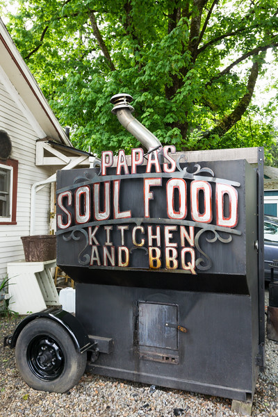 The barbecue outside Papa's Soul Food Kitchen. Taken on a walkabout in Eugene, Oregon, USA.