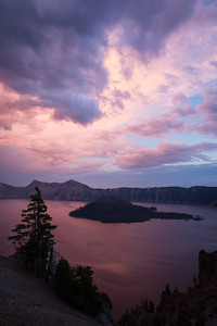 """Wizard Island Sunset""  We had a phenomenally colorful sunset one evening at Crater Lake. Wizard Island is a favorite feature of mine in the lake. Taken in Crater Lake National Park, Oregon, USA."