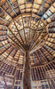 Interior detail of the Peter French Round Barn. It was built in the late 1870's or early 1880's, exact date unknown. The intricate construction was of juniper poles, lodgepole pine boards, and stone.