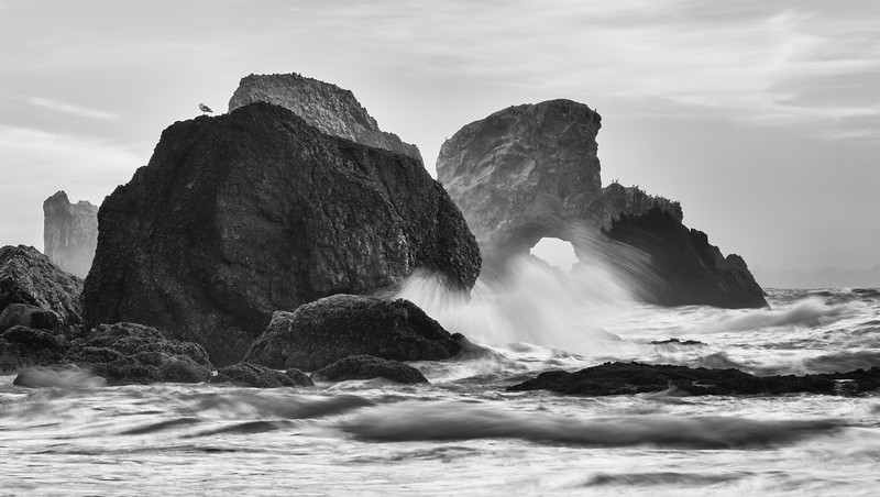"""""""Power""""<br /> <br /> Waves break against the sea stacks. Taken at Indian Beach, Ecola State Park, Oregon, USA."""