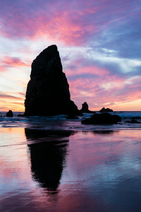"""Fiery Cannon Beach""  Sunset at Cannon Beach, Oregon, USA."