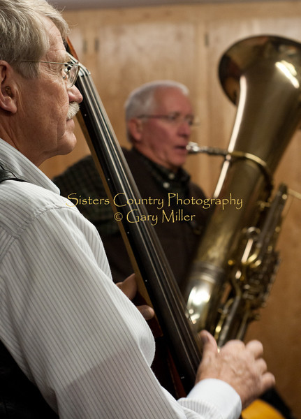 Ted Schoenborg and Bob Shimek, the Bluegrass Tuba King, of. Back From the Dead warming up their chops backstage at the Hoedown for Hunger Benefit Concert 2009..