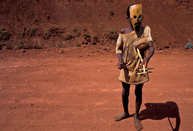 PB 24 - Young Boy with Turtle Shell Mask and Instrument, Rift Valley, Kenya, Africa