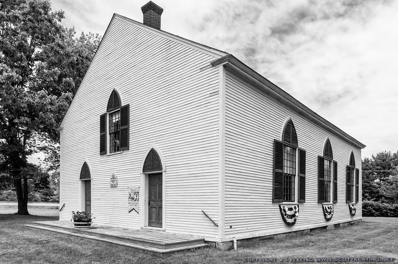 Biddeford First Parish Meetinghouse c.1759, oldest public building in Biddeford remodeled in 1840. The Declaration of Independence was read aloud here on July 21 1776 - Biddeford, Maine