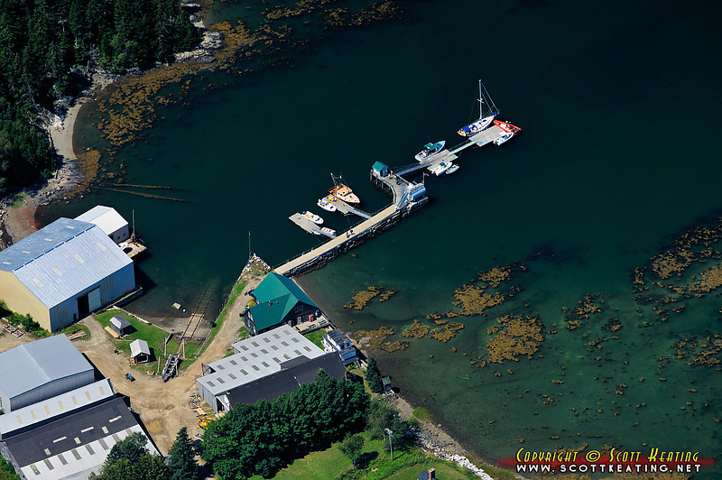 Small marina on Seven Hundred Acre Island at Cradle Cove on Gilkey Harbor - in Waldo County, east of Camden, Maine