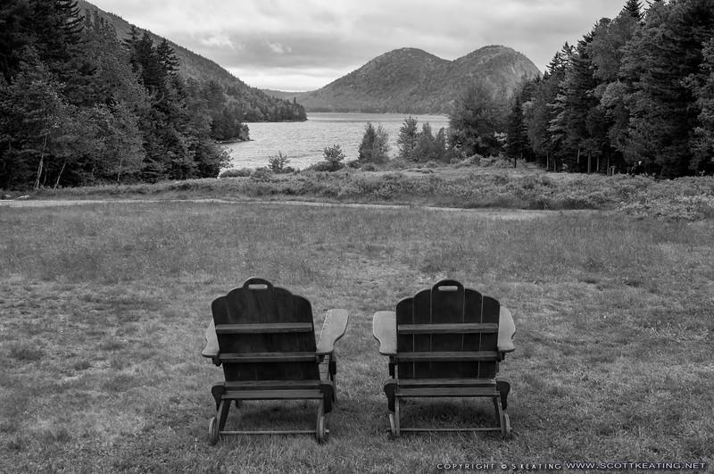 Chairs overlooking Jordan Pond - Acadia National Park, Maine