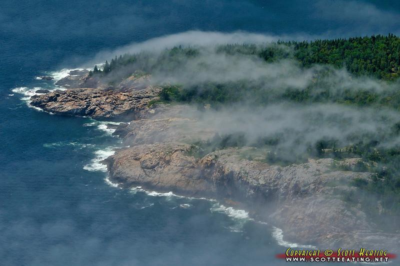 Fog over part of Acadia National Park, Maine