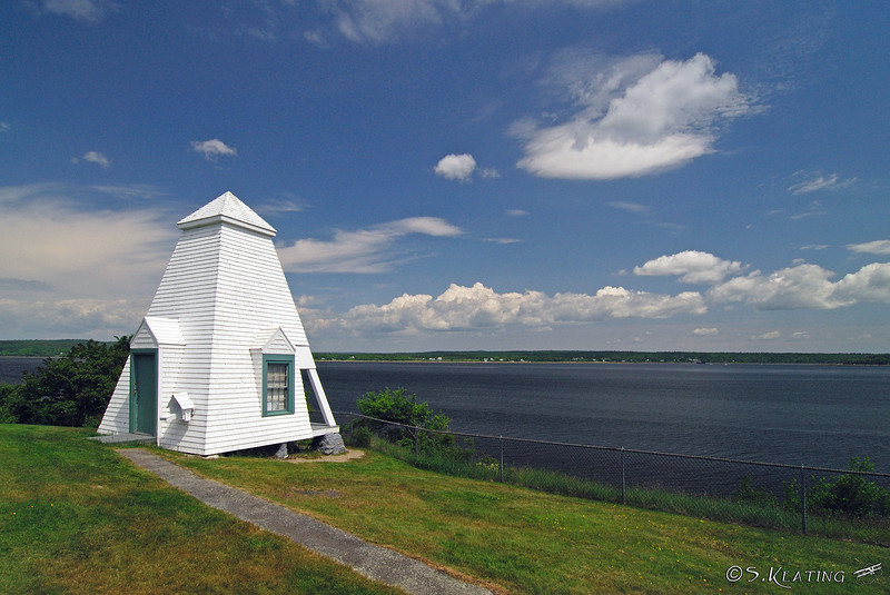 Ft Point Lighthouse's fog bell tower and Penobscot Bay - Stockton Springs, Maine
