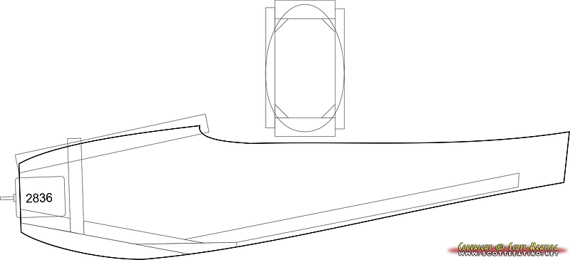 Fuselage redesign to accept brushless motor (Turnigy 2836/9-950) with downtrust. The general shape and side-area was kept from the original. The fuselage was narrowed quite a bit from the original.