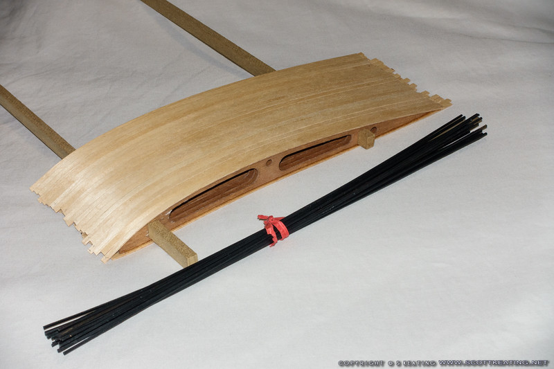 """Finished ribs and bamboo for cross-bracing. The bamboo was painted with """"Dupli-Color Vinyl & Fibric"""" paint."""