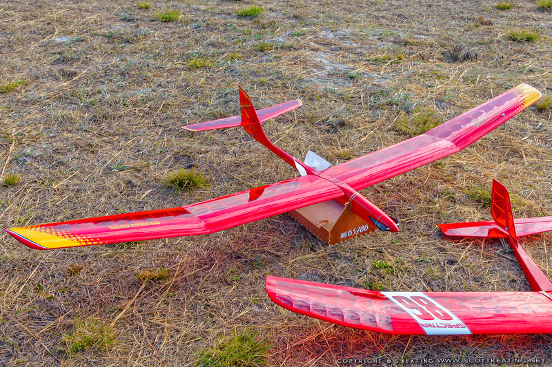 Sagitta 900, scratch built by Scott Keating, modified for electric-launch.  FSS (Florida Soaring Society) contest #1 2018, hosted by the Orlando Buzzards in Christmas, Florida