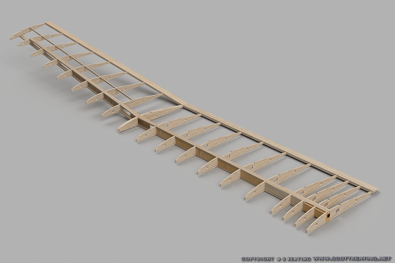 More complete rendering of the wing with tip subspar and trailing edges