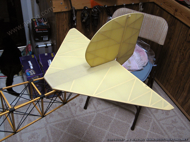 The completed stab temporarily mounted along with the fin/rudder on the fuselage