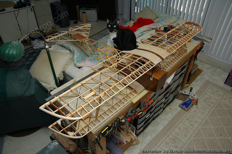 Fuselage mostly completed, wings and tail framed up - final test fitting of wings to fuselage and struts.