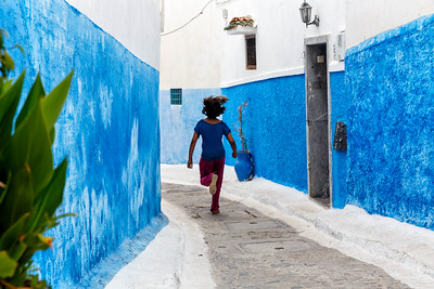 "Medina is the ""old town'."" Moors and Jews came here after they were ejected from Spain. Blue walls were the Jewish area."