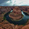 Horseshoe Bend on the Colorado river with a storm rolling in