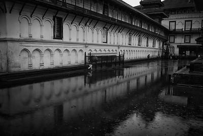 a flooded Hanuman Dhaka reflects the old Royal Palace