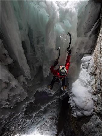 Night Climbing on Roaring Brook Falls